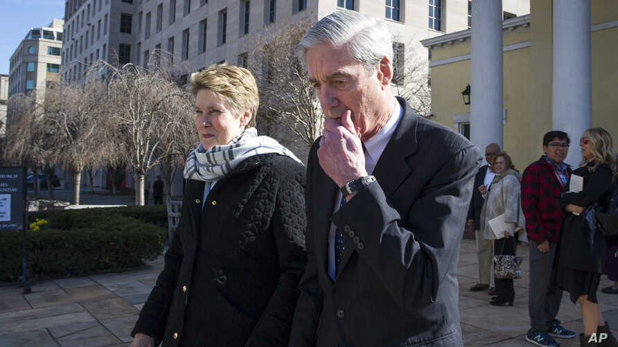Special Counsel Robert Mueller, and his wife Ann, depart St. John's Episcopal Church, across from the White House, in Washington, March 24, 2019.