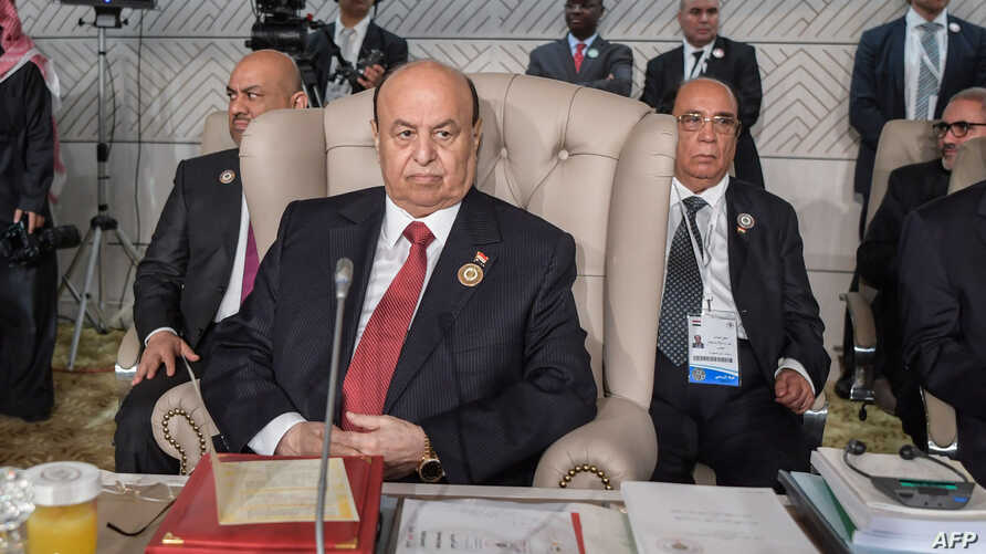 Yemeni President Abd-Rabbu Mansour Hadi attends the opening session of the 30th Arab League summit in the Tunisian capital Tunis on March 31, 2019.Yemeni President Abedrabbo Mansour Hadi attends the opening session of the 30th Arab League summit in t...