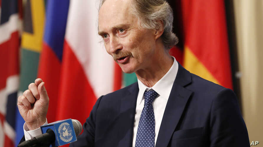 United Nations Special Envoy for Syria Geir Pedersen gestures as he speaks to the media following a U.N. Security Council meeting on Syria at U.N. headquarters in New York, April 30, 2019.