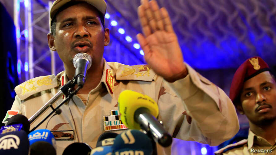 General Mohamed Hamdan Dagalo, head of the Rapid Support Forces and deputy head of the Transitional Military Council speaks after the Ramadan prayers and Iftar organized by Sultan of Darfur Ahmed Hussain in Khartoum, Sudan, May 18, 2019.