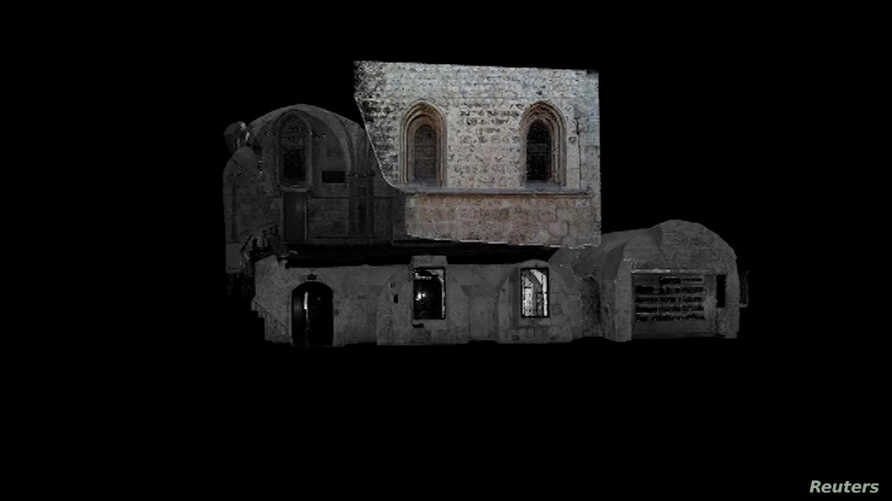 A still image taken from handout video footage shows a 3D model of the Cenacle, a hall revered by Christians as the site of the  Last Supper, in Mount Zion near Jerusalem's Old City. (Science and Technology in Archaeology and Culture, the Cyprus Inst...