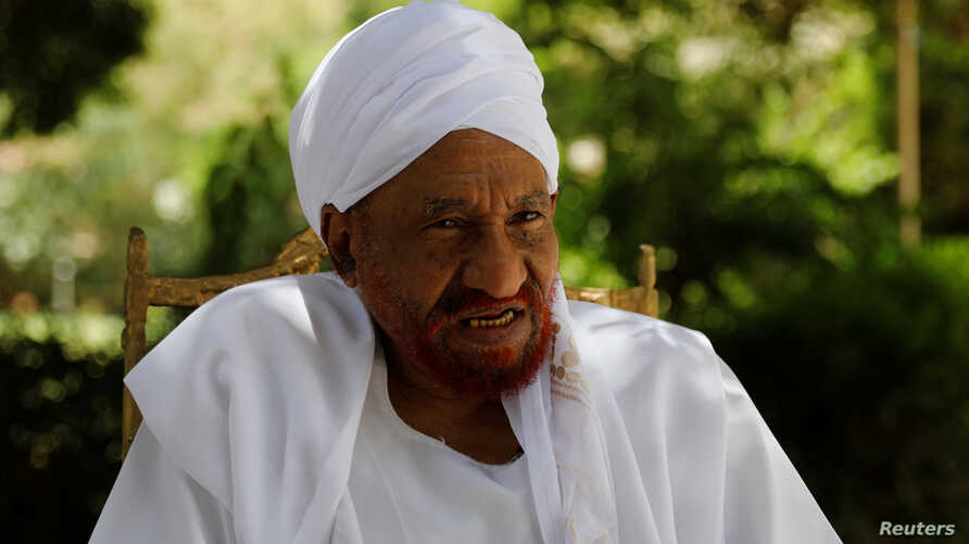 Leading Sudanese opposition figure Sadiq al-Mahdi, Sudan's last democratically elected prime minister, who was overthrown in 1989 in a bloodless coup by army officer Omar Hassan al-Bashir, talks during an interview with Reuters in Khartoum, April 25,...