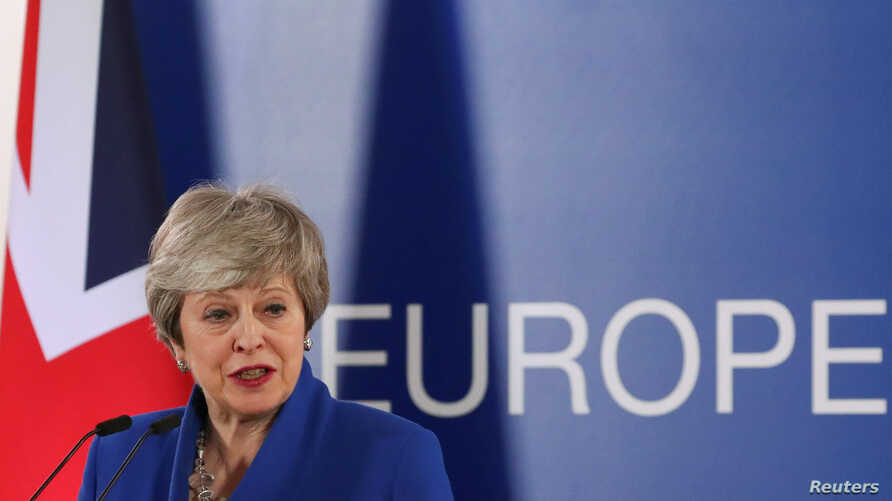 British Prime Minister Theresa May holds a news conference following an extraordinary European Union leaders summit to discuss Brexit, in Brussels, Belgium April 11, 2019.