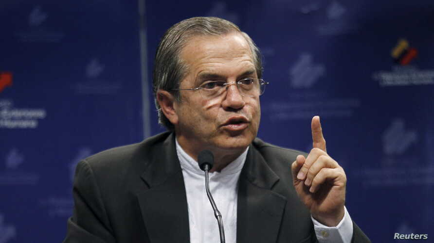 Ecuador's Foreign Minister Ricardo Patino addresses a news conference about WikiLeaks founder Julian Assange in Quito, Feb. 5, 2016.