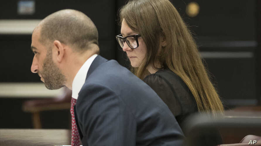 FILE - In this April 25, 2019, photo, Anna Sorokin, right, and her lawyer Todd Spodek react as the jury foreman reads the verdict in New York. Sorokin, a fake German heiress, swindled tens of thousands of dollars from New York banks and hotels.