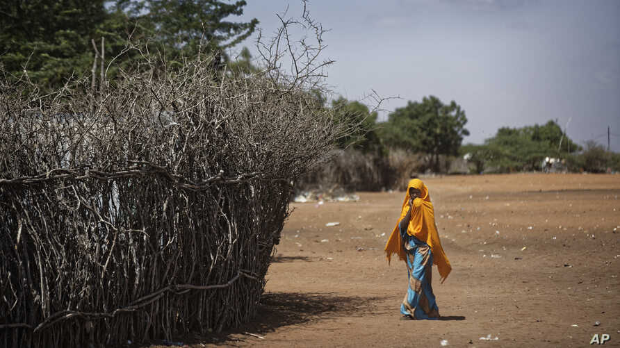 FILE - In this Dec. 19, 2017 photo, a Somali girl walks near a fence surrounding a hut at Dadaab refugee camp.