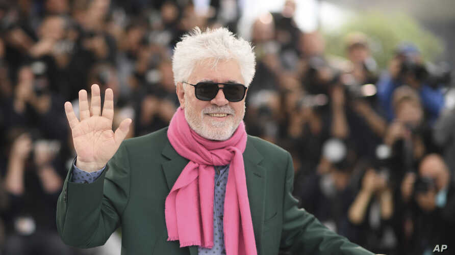 Director Pedro Almodovar poses for photographers at the photo call for the film 'Pain and Glory' at the 72nd international film festival, Cannes, southern France,, May 18, 2019.