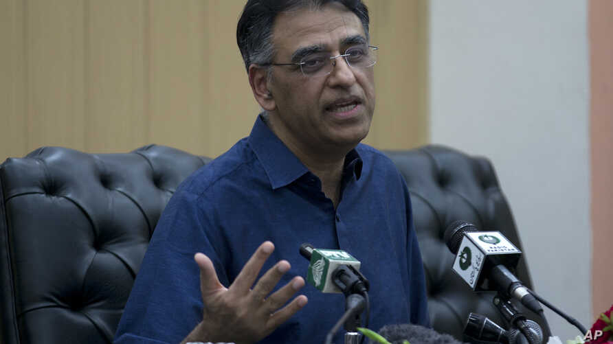 Pakistan's Finance Minister Asad Umar addresses a news conference in Islamabad, Pakistan, April 18, 2019.