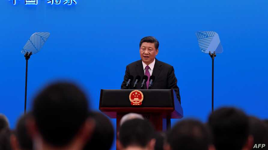 China's President Xi Jinping speaks at a press conference at the end of the final day of the Belt and Road Forum at the China National Convention Centere at the Yanqi Lake venue, outside Beijing, April 27, 2019.