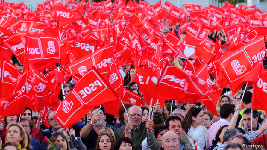 Supporters of Spain's Socialist Party attend an electoral campaign closing rally in Valencia, April 26, 2019.
