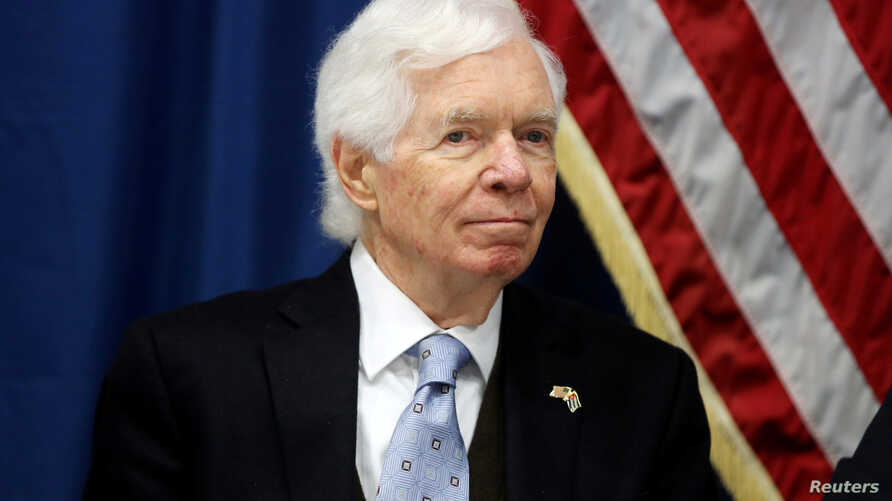 FILE - U.S. Senator Thad Cochran takes part in a news conference at the U.S. Embassy in Havana, Cuba, Feb. 22, 2017.