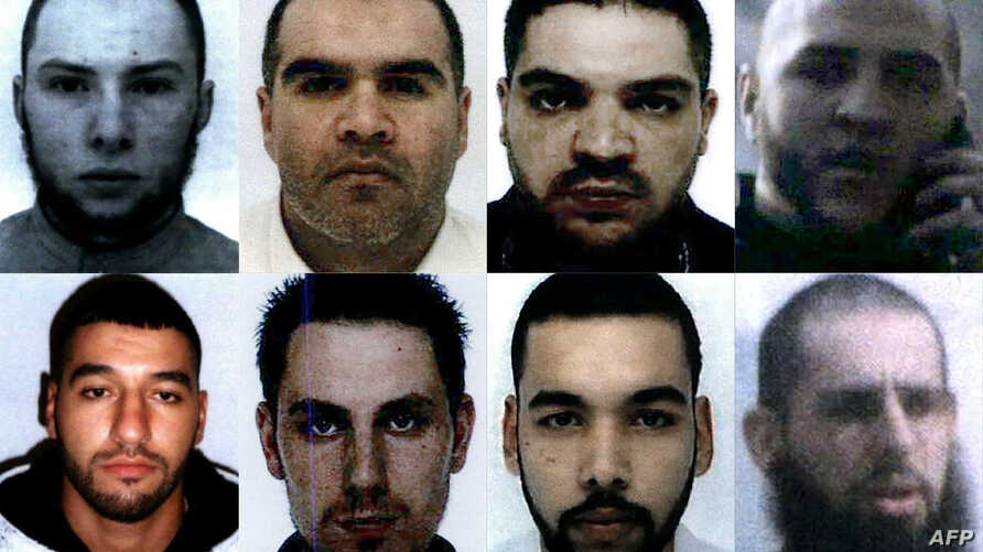 This combination of file photographs French nationals (from top left to bottom right) Vianney Ouraghi, Salim Machou, Mustapha Merzoughi, Brahim Nejara, Fodil Tahar Aouidate, Kevin Gonot, Yassine Sakkam and Leonard Lopez, all sentenced to death by a B...