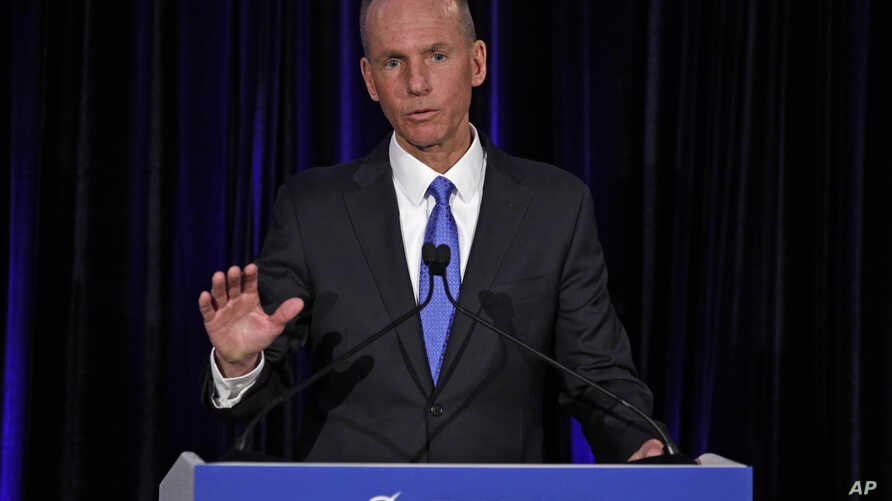 Boeing Chief Executive Dennis Muilenburg speaks during a news conference after the company's annual shareholders meeting at the Field Museum in Chicago, April 29, 2019.