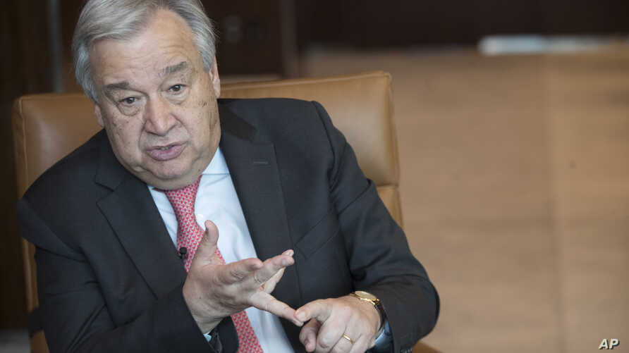 United Nations Secretary-General Antonio Guterres speaks during an interview at United Nations headquarters on May 7, 2019.