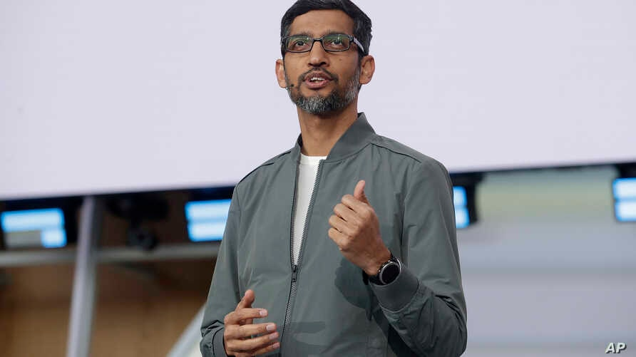 FILE -Google CEO Sundar Pichai speaks during the keynote address of the Google I/O conference in Mountain View, Calif.,  May 7, 2019.