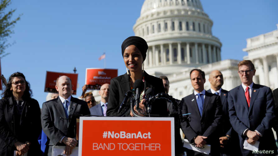 U.S. Rep. Ilhan Omar, a Democrat from Minnesota, speaks about Trump administration policies towards Muslim immigrants at a news conference in Washington, D.C., April 10, 2019.