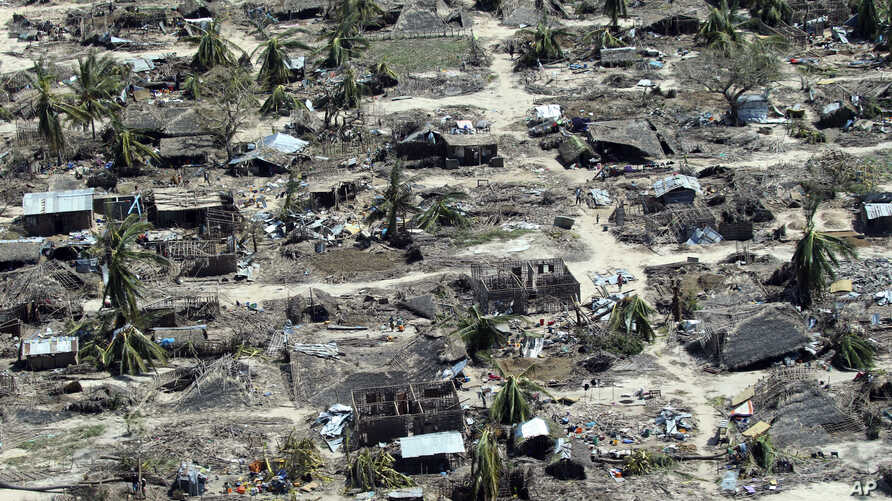 An aerial shot shows widespread destruction caused by Cyclone Kenneth when it struck Ibo island north of Pemba city in Mozambique, May, 1, 2019. More than 22 inches (55 centimeters) of rain have fallen in Pemba since Kenneth arrived just six weeks af...