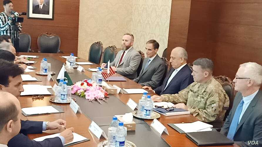 U.S. special representative for Afghanistan reconciliation, Zalmay Khalilzad, holding delegation-level talks at Pakistan's Foreign Ministry, June 2, 2019.