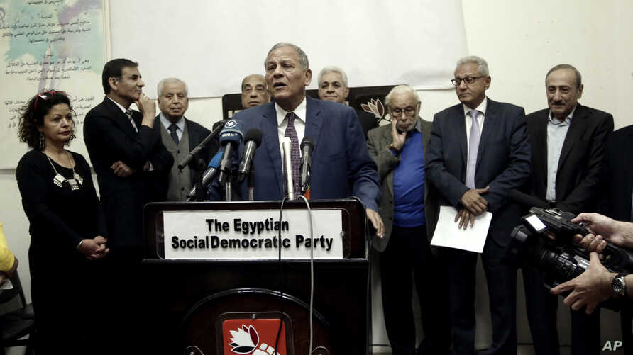 Mohammed Anwar Sadat, nephew of Egypt's late leader Anwar Sadat, speaks during a press conference held by several political parties decrying proposed constitutional amendments, in Cairo, Egypt, Wednesday, March 27, 2019.
