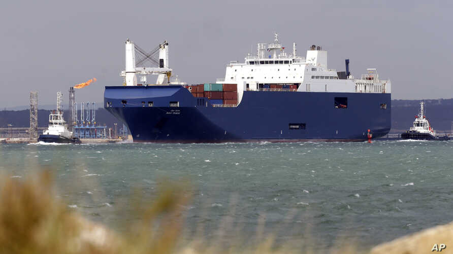 The Saudi cargo ship Bahri Tabuk arrives in Fos-sur-Mer, France,  May 28, 2019.