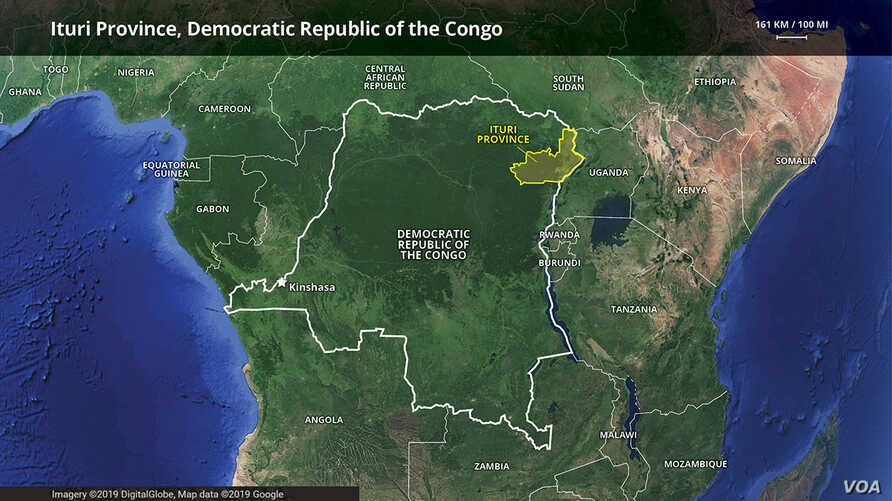 Map of Ituri Province, Democratic Republic of Congo