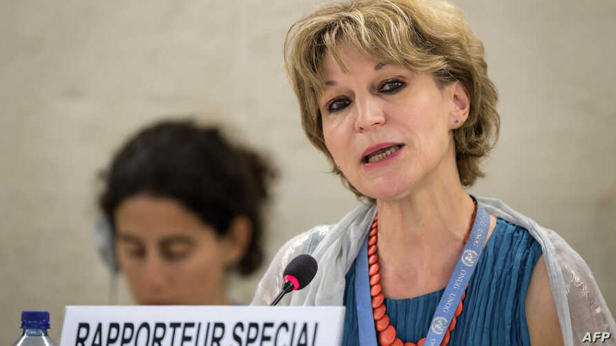 U.N. special rapporteur on extrajudicial, summary or arbitrary executions Agnes Callamard delivers her report on the killing of Saudi journalist Jamal Khashoggi before the U.N. Human Rights Council in Geneva, Switzerland, June 26, 2019.