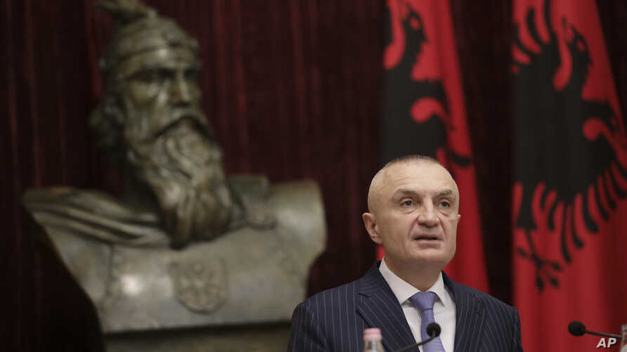 FILE - Albanian President Ilir Meta speaks during a news conference in capital Tirana, Albania,  June 10, 2019.
