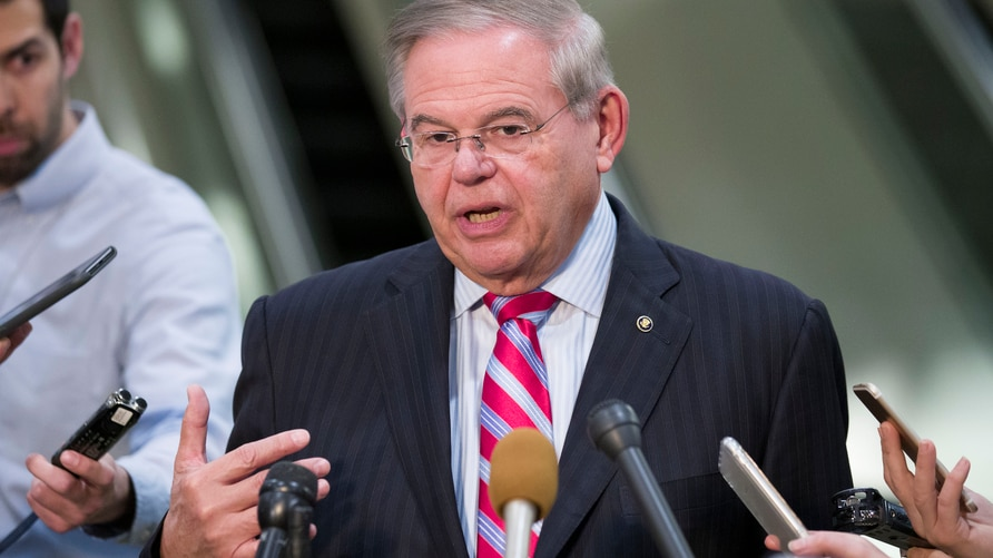 Democratic Sen. Bob Menendez speaks with the media on Capitol Hill in Washington, March 5, 2019.