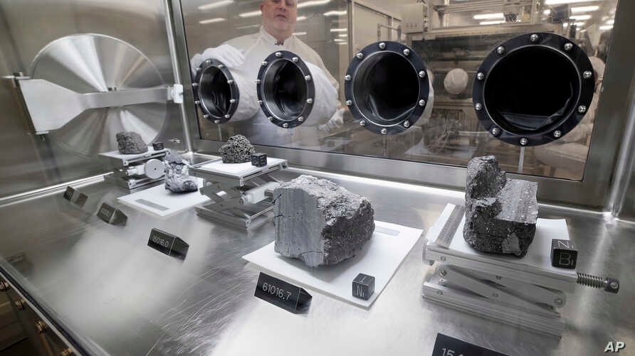 lunar samples collected during Apollo missions, inside the lunar lab at the NASA Johnson Space Center, June 17, 2019, in Houston, Texas.