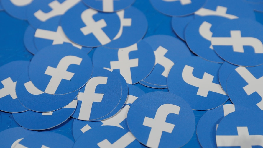 Stickers bearing the Facebook logo are pictured at Facebook Inc's F8 developers conference in San Jose, California, April 30, 2019.