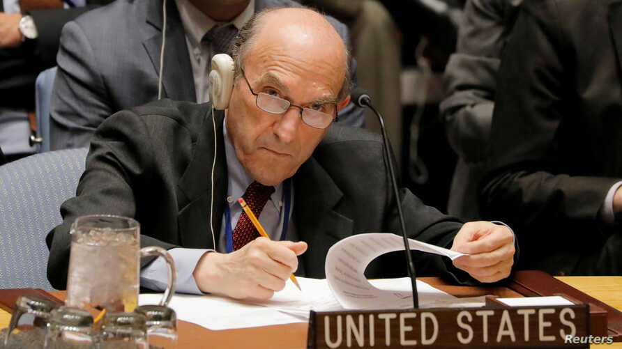 U.S. diplomat Elliott Abrams during a meeting of the U.N. Security Council  on Venezuela at U.N. headquarters in New York, Feb. 28, 2019.