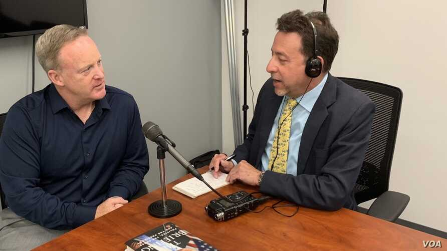 Former White House Press Secretary Sean Spicer is being interviewed by VOA White House bureau chief Steve Herman, in Arlington, Virginia, June 17, 2019.