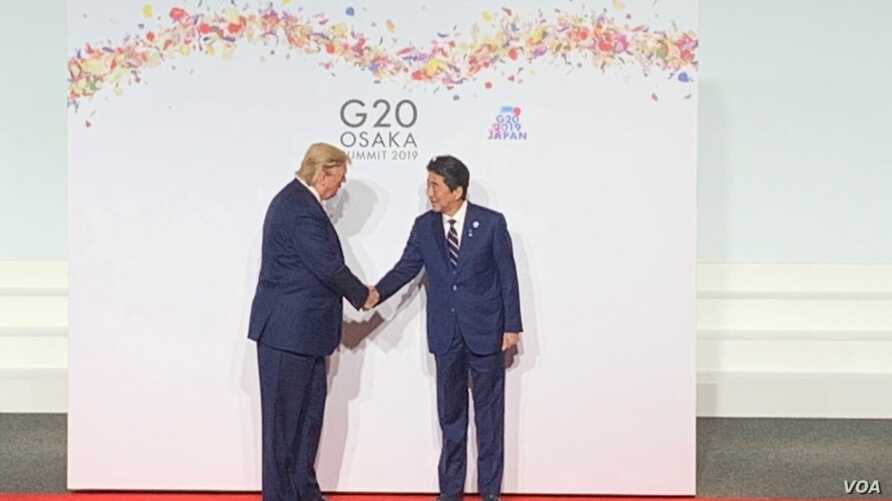 U.S. President Donald Trump, left, and Japanese Prime Minister Shinzo Abe shake hands at the Group of 20 summit in Osaka, Japan, June 28, 2019. (S. Herman/VOA/Radio pool)