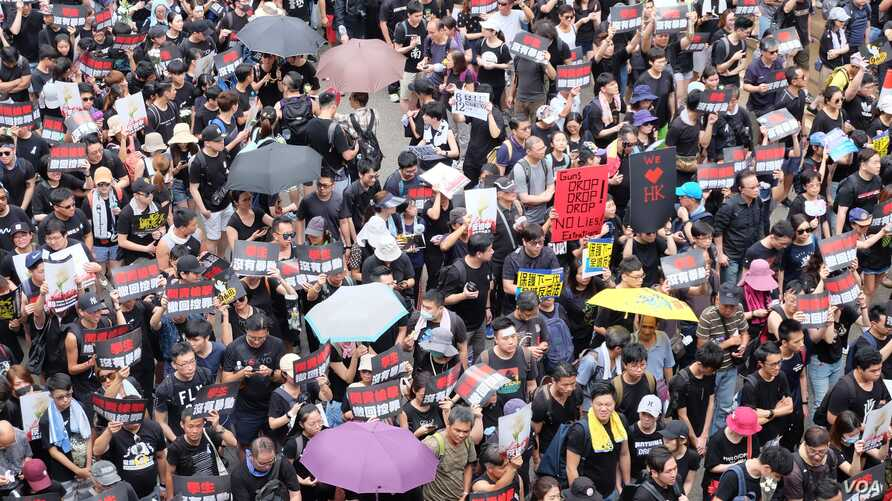 Protesters attend a demonstration demanding Hong Kong's leaders to step down, in Hong Kong, June 16, 2019.