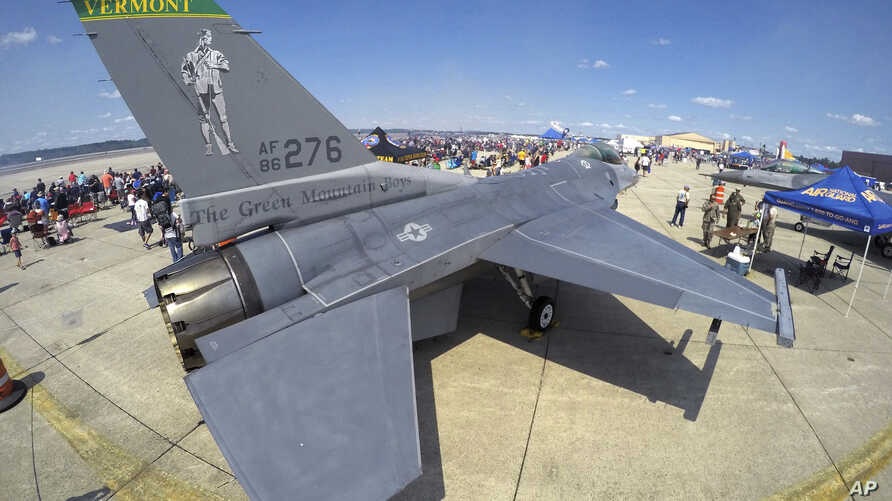 A Vermont-based F-16 Fighting Falcon is on display at the Great State of Maine Air Show, Saturday, Aug. 26, 2017, in Brunswick,