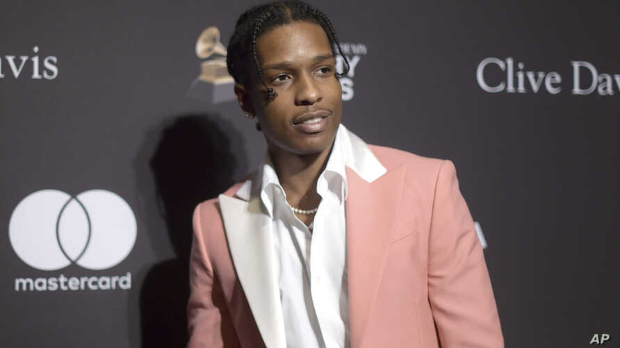 FILE - A$AP Rocky arrives at Pre-Grammy Gala And Salute To Industry Icons at the Beverly Hilton Hotel on Feb. 9, 2019, in Beverly Hills, Calif.