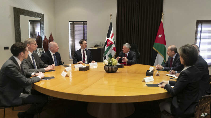 Presidential advisers Jared Kushner, center left, and Jason Greenblatt, third left, meet with Jordan's King Abdullah II, center right, and his advisers, in Amman, Jordan,  May 29, 2019.