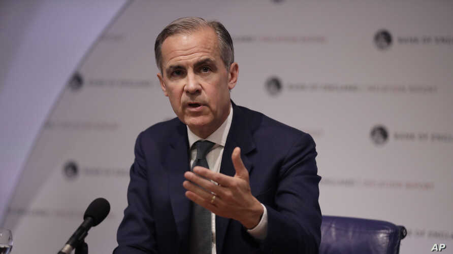 FILE - Bank of England Governor Mark Carney speaks during an Inflation Report Press Conference at the Bank of England in London, May 2, 2019.