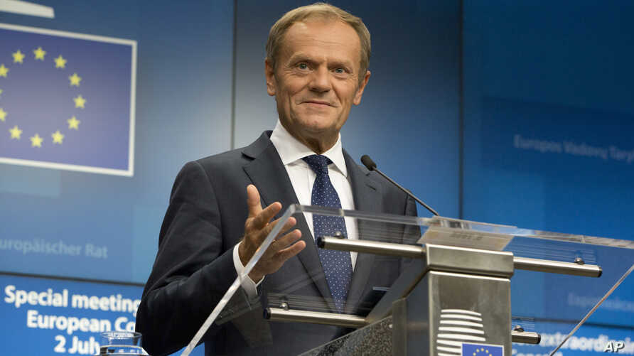 European Council President Donald Tusk speaks during a media conference at an EU summit in Brussels, July 2, 2019.