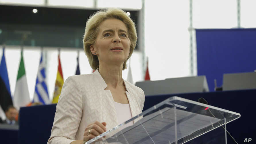 Germany's Ursula von der Leyen addresses European Parliament members after being elected as the new European Commission President at the European Parliament in Strasbourg, eastern France, July 16, 2019.