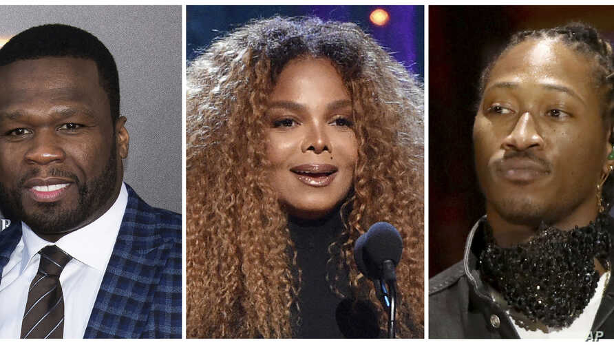 This combination photo shows, from left, rapper 50 Cent, singer Janet Jackson and rapper Future who have been added to the lineup for the Jeddah World Fest, the concert in Saudi Arabia.