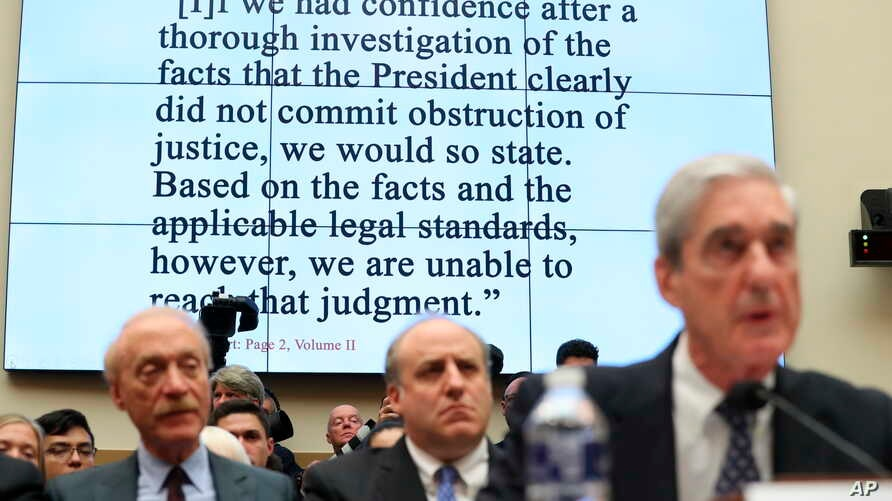 Former special counsel Robert Mueller testifies before the House Judiciary Committee hearing on his report on Russian election interference, on Capitol Hill, in Washington,  July 24, 2019.