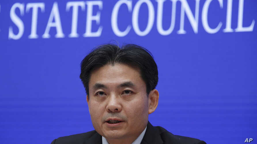 Yang Guang, spokesman of the Hong Kong and Macau Affairs Office of the State Council, speaks during a press conference about the ongoing protests in Hong Kong, at the State Council Information Office in Beijing, July 29, 2019.