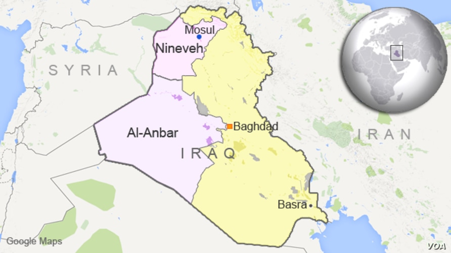 Map of Iraq showing the provinces of al-Anbar and Nineveh.