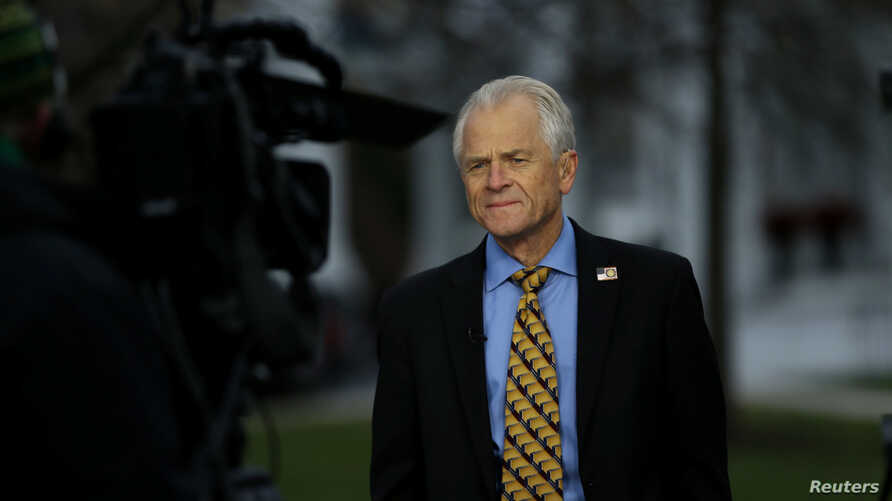 FILE - White House trade adviser Peter Navarro is interviewed outside of the White House in Washington, Dec. 4, 2018.