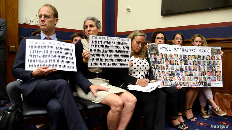 People who lost loved ones in Lion Air flight JT610 and Ethiopian Airlines flight ET302 crashes attend a House Transportation and Infrastructure Aviation Subcommittee hearing on the Boeing 737 MAX, Capitol Hill, Washington, June 19, 2019.