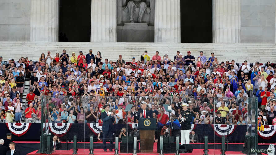 U.S. President Donald Trump speaks next to Acting Secretary of Defense Mark Esper and Chairman of the Joint Chiefs of Staff General Joseph Dunford at the Lincoln Memorial in Washington, D.C., July 4, 2019.
