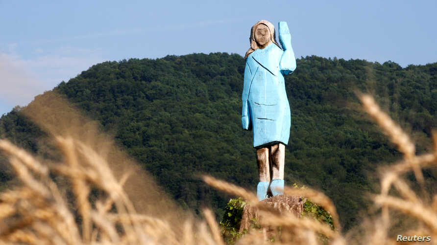 Life-size wooden sculpture of U.S. first lady Melania Trump is officially unveiled in Rozno, near her hometown of Sevnica, Slovenia, July 5, 2019.