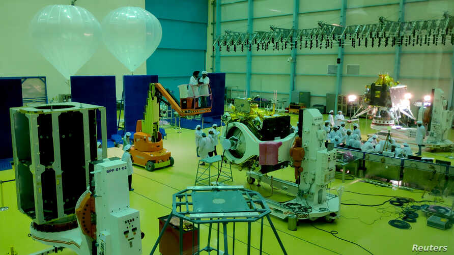 Indian Space Research Organization scientists work on various modules of lunar mission Chandrayaan-2 at ISRO Satellite Integration and Test Establishment (ISITE) in Bengaluru, India, June 12, 2019.