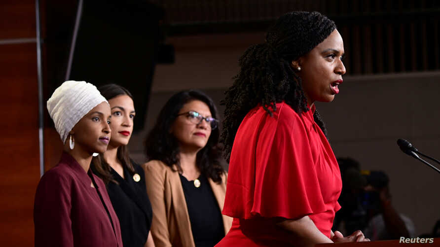 U.S. Reps Ilhan Omar (D-MN), Alexandria Ocasio-Cortez (D-NY), Rashida Tlaib (D-MI) and Ayanna Pressley (D-MA) hold a news conference after Democrats in the U.S. Congress moved to formally condemn President Donald Trump's attacks on the four minority congresswomen on Capitol Hill in Washington, July 15, 2019.